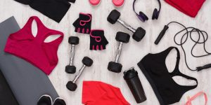 Female sport clothing and equipment top view